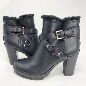 Guess   Faux Fur Lined Heeled Bootie Black